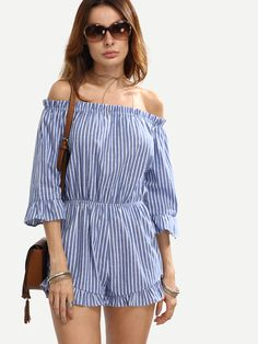 fc0516c85b6 Blue Striped Off The Shoulder Ruffle Jumpsuit
