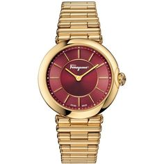 Ferragamo Women's Swiss Style Gold-Tone Ion-Plated Stainless Steel... ($1,395) ❤ liked on Polyvore featuring jewelry, watches, gold, salvatore ferragamo watches, salvatore ferragamo, bracelet watch, gold tone bracelet watch and gold tone jewelry