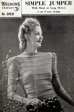 1940's Style For You: Free Knitting Pattern - Simple 1940's Jumper - Weldons 352