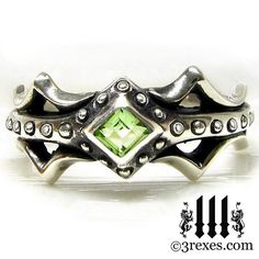 Silver Engagement Ring Fairy Princess Green by 3RexesJewelry, $72.00