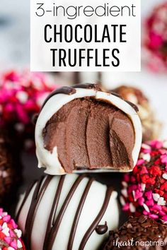 Easy chocolate truffles made with only 3 simple ingredients! They are smooth, creamy, rich and seriously divine. #chocolate #chocolaterecipes #chocolatedesserts #chocolatetruffles #truffles #trufflerecipes #nobake #nobakedesserts #easydesserts #valentines #valentinesday #valentinesdesserts #recipes #iheartnaptime Best Chocolate, Chocolate Flavors, Chocolate Desserts, Divine Chocolate, White Chocolate, Melt Chocolate For Dipping, Melting Chocolate, Chocolate Making, Chocolate Chip Cookies