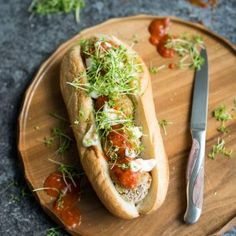 Vegan Meatball Sub. This delicious vegan meatball sub uses mushrooms as a base for a hearty satisfying sandwich. Vegan Vegetarian, Vegetarian Recipes, Healthy Recipes, Vegan Food, Yummy Recipes, Recipies, Vegan Sandwich Recipes, Vegan Meatballs, Meatball Subs