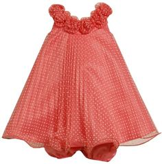 Bonnie Baby Girls Infant Crystal Pleat Mesh Dress With Dots
