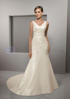 Mermaid Radiant Taffeta Asymmetrical Draping Ruched Bodice V-neck Neckline Chapel Length Train Wedding Dresses(ML4507)