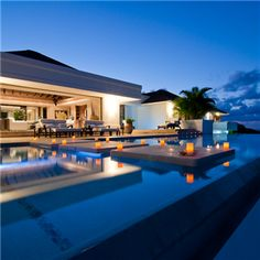 Outdoor living area with pool.  Wow!