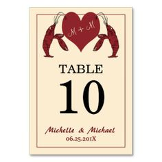 Crawfish Lobster Heart Party Table Number Card #cajunparty #lobsterparty #crawfishparty #neworleanswedding