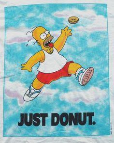 Vintage 1990s Homer Simpson 'Just Donut' T Shirt.  Never Worn, deadstock.