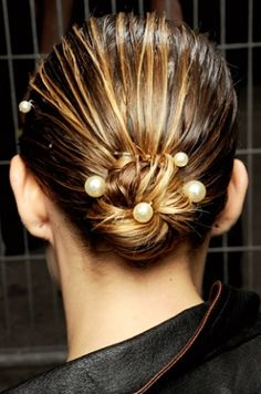 Add a touch of glam to a simple knot with pearl and/or crystal bobby pins. #hair #hairstyle #accessories #beauty #fashion #style