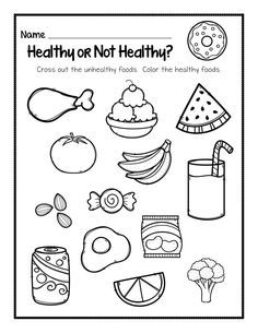 Worksheet for health unit in social studies where children identify healthy and unhealthy foods individually. Math Practice Worksheets, Kindergarten Addition Worksheets, Kindergarten Social Studies, Social Studies Worksheets, Shapes Worksheets, Science Worksheets, Kindergarten Science, Writing Worksheets, Worksheets For Kids