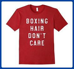 Mens Boxing Hair Don't Care Training Workout Tee Boxing T Shirt 2XL Cranberry - Workout shirts (*Amazon Partner-Link)
