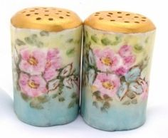 Modern Salt And Pepper Shakers Hand Painted, Painted Porcelain, Fine Porcelain, Vintage China, Antique China, Teapot Cookies, Red And Teal, Salt And Pepper Set, Salt Pepper Shakers