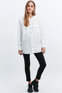 BDG Grandad Collar Shirt in White