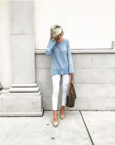 b009790c1b Light Blue Sweater and Gray Pants