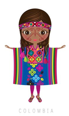 Its related with colombia Hispanic Heritage Month, Thinking Day, We Are The World, Mexican Art, Illustrations, World Cultures, Folklore, Clipart, Paper Dolls