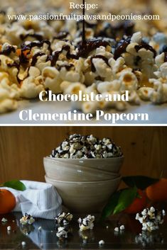 Making homemade popcorn is super easy and fun. Holding the lid down as the hard little kernels loudly pop and bash against the sides of the saucepan never gets old. My Chocolate and Clementine Popcorn are crunchy clusters of caramel coated puffed popcorn, Sweet Recipes, Snack Recipes, Snacks, How To Roast Hazelnuts, Caramel Coat, Homemade Popcorn, Cocoa Nibs, Super Easy