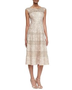 Sleeveless Lace Tea-Length Cocktail Dress by Kay Unger New York at Neiman Marcus. Rehearsal dinner dress.