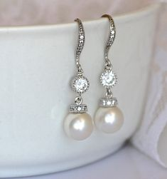 Ivory Pearl Drop Bridal Earrings by JamJewels1