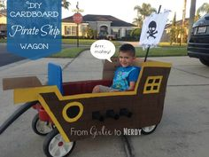 DIY Cardboard Pirate Ship Wagon