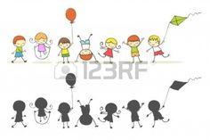 Bambini carino cartone animato giocando. Archivio Fotografico