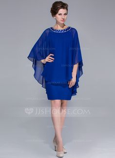 Sheath/Column Scoop Neck Knee-Length Chiffon Mother of the Bride Dress With Beading (008025716) - JJsHouse