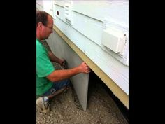 This is a great mobile home skirting idea. concrete skirting makes a whole lot of sense. Mobile Home Exteriors, Mobile Home Renovations, Mobile Home Makeovers, Remodeling Mobile Homes, Home Upgrades, Home Remodeling, Bathroom Remodeling, Mobile Home Skirting, Holland