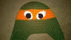 Handmade crochet orange teenage ninja turtle hat. Will by darstar5