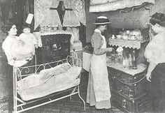 A nurse teaches mothers how to sterilize milk in the home to prevent illnesses in their children, about 1910. http://www.vnsny.org/about-us/history/