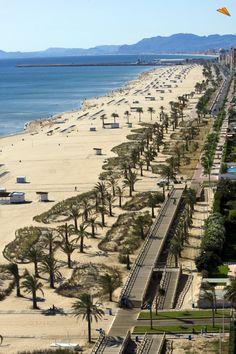 Vista aérea de la playa Nord en Gandía, Comunidad Valenciana  Spain