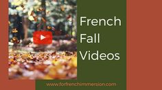 French fall classroom videos: a time-saving list of French fall-themed videos for your classroom! Get your kids singing about and discussing the season! Study French, Core French, Learn French, French Lessons, Spanish Lessons, Teaching French, Teaching Spanish, English French Dictionary, Fall Video