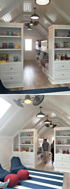 These added bookshelves help to create defined space in this kids room.