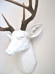 Faux Taxidermy Deer Head wall mount wall hanging by mahzerandvee Stag Head, Faux Taxidermy, Animal Heads, Polymers, Wall Mount, Deer, Moose Art, Interior, Handmade Gifts