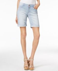 Lee Platinum Petite Railroad Stripe Bermuda Shorts - Blue 14P