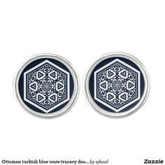 Ottoman turkish blue ware tracery design cufflinks