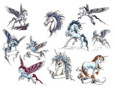 Tribal Unicorn Tattoo Set Photo - 2 Real Photo, Pictures, Images and Sketches – Tattoo Collections Pegasus Tattoo, Dragons, Unicorn Tattoos, Horse Tattoos, Tribal Tattoos, Flying Tattoo, Fantasy Tattoos, Tattoo Templates, Tattoo Flash Art