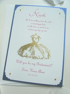 Bridesmaid Invitation 5x7- COLORED INK- Will you be my- Wedding- Maid of Honor- Matron of Honor- FlowerGirl- Dress. $9.50, via Etsy.