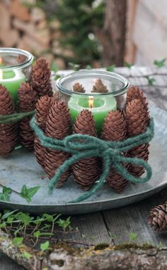 Tannenzapfen gibt es jetzt überall in der Natur. Diese hübsche Bastelei ist sc… Pine cones are now everywhere in nature. This pretty handicraft is done quickly and creates a cozy atmosphere at the table. Diy Christmas Decorations, Table Decorations, Christmas Time, Christmas Crafts, Merry Christmas, Xmas, Holiday, Christmas Ideas, Decoration Chic
