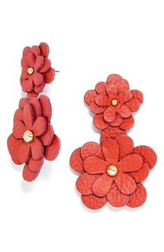 BaubleBar 'Zoe' Leather Flower Drop Earrings available at #Nordstrom