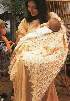Heirloom Lace Knitting Baby Blanket Wrap ~ Shetland Isle Knit PDF Pattern
