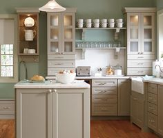 Love color... Use for base cabinets...paint top cabinets white?frosted glass for upper cabinets, follow same style for full door. Reface Your Kitchen Cabinetsat The Home Depot