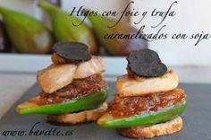 Higos con foie y trufa, caramelizados con salsa de soja.