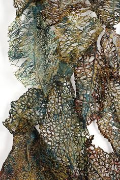"Lesley Richmond Lace Cloth Series Unnatural Structures (detail) ""Some of the forms she constructs with heat-reactive base reference antique lace designs influenced by organic structures. Textile Texture, Textile Fiber Art, Textile Artists, Organic Structure, Natural Structures, Art Fibres Textiles, A Level Textiles, Creation Art, Creative Textiles"