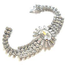Crystal Rhinestone Bracelet  Vintage Runway JULIANA by JoolsForYou