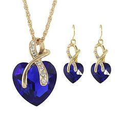 Ketting met hangertje oorbellen in hart vorm blauw kleur