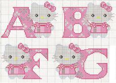 Alfabeto de Hello Kitty para punto de cruz.