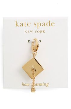 kate spade new york 'how charming' novelty charm available at #Nordstrom In gold graduation cap