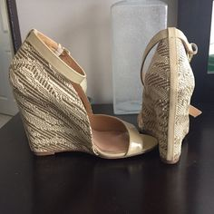 Badgley Mischka wedges. Worn once! Badgley Mischka wedges, size 6. Like new condition!! Badgley Mischka Shoes