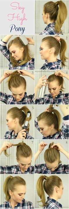 Best 5 Minute Hairstyles – High Ponytail Hack – Quick And Easy Hairstyles and Haircuts For Long Hair, That Are Super Simple and Great For Busy Morning - Hair Styles For School Five Minute Hairstyles, Quick Hairstyles, Hairstyles For School, Braided Hairstyles, Goddess Hairstyles, Workout Hairstyles, Braids For Medium Length Hair, Medium Hair Cuts, Medium Hair Styles