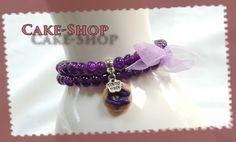 Bracelet double 6mm violet donuts