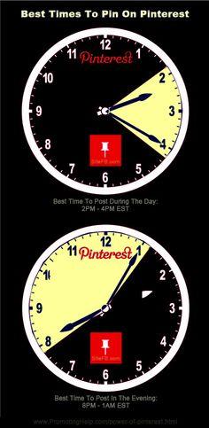 Best Times To Pin On Pinterest...  http://www.promotinghelp.com/power-of-pinterest.html