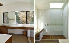Walk in shower, wood vanity, wood tub surround, large scale porcelain floors. venetian plaster shower.